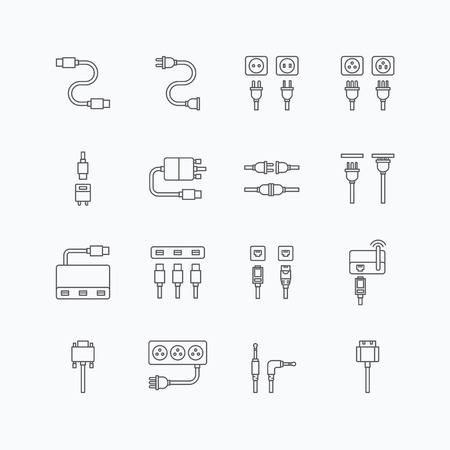electricity cable: vector linear web icons set - cable wire computer and electricity plug collection of flat line design elements. Illustration