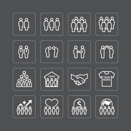 success concept: team and business silhouette icons flat line design vector set. teamwork to success concept.