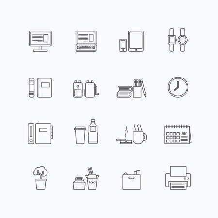 folder icon: vector linear web icons set - business office tools collection of flat line design elements.