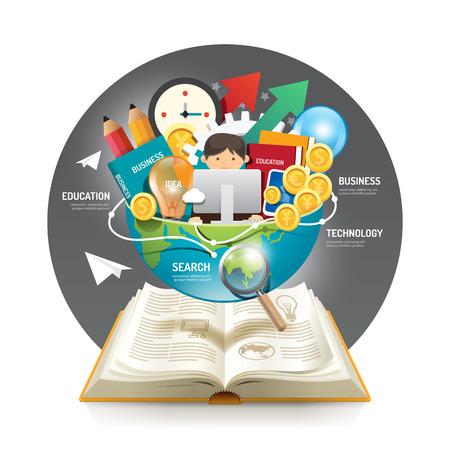 教育: 開いた本インフォ グラフィック革新アイデア世界のベクトル図に。ビジネス教育 concept.can は、レイアウト、バナーや web のデザインに使用します。