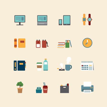 taza de café: iconos planos vectorial web conjunto - herramientas de la oficina de negocios colección de elementos de diseño de la ciudad.
