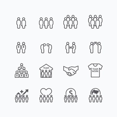 handshake icon: team and business silhouette icons flat line design vector set. teamwork to success concept.