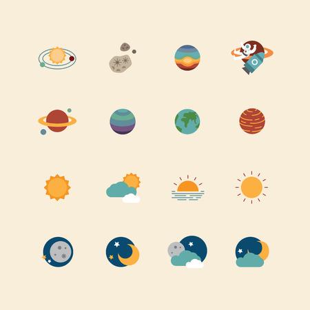 ベクター web アイコン セット - スペース太陽と月のフラットなデザイン要素のコレクション。宇宙の概念。  イラスト・ベクター素材