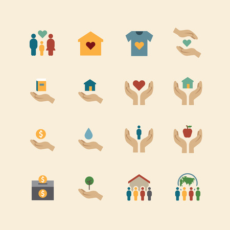 charity and donation silhouette colour icons flat line design vector
