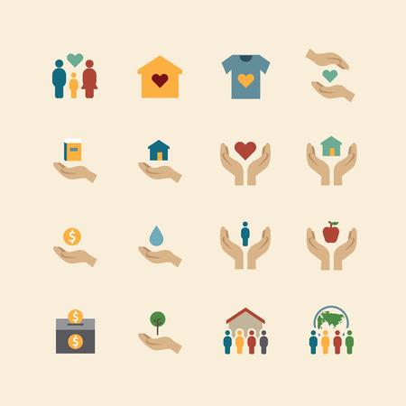 Nächstenliebe und Spenden Silhouette Farbe Symbole flach Line-Design Vektor-