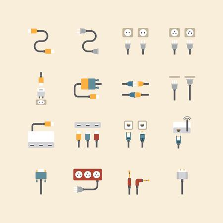 cable telefono: iconos lineal web conjunto de vectores - alambre de cable de la computadora y el enchufe de electricidad colecci�n de colores planos elementos de dise�o.