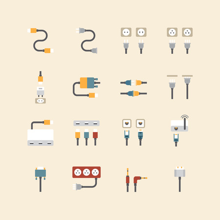 lan: vector linear web icons set - cable wire computer and electricity plug collection of flat colour design elements.