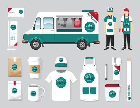 mandil: Diseño de cafetería restaurante Vector calle configurar taller de camiones de alimentos, folleto, carta, paquete, camiseta, gorra, uniforme y visualización de diseño de diseño conjunto de identidad corporativa maqueta plantilla.