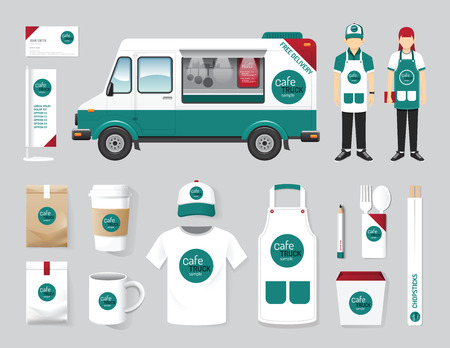 Vector restaurant cafe design set street food truck shop, flyer, menu, package, t-shirt, cap, uniform and display design layout set of corporate identity mock up template.