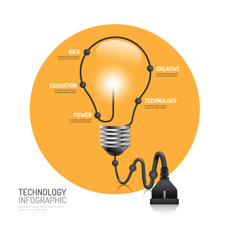 technology banner: technology infographic plug line idea vector illustration. innovation education concept.can be used for layout, banner and web design.