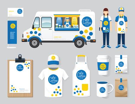comida: Vector restaurante café cenografia rua oficina de caminhões de alimentos, flyer, menu, pacote, t-shirt, boné, uniforme e exibição layout do projeto conjunto de identidade corporativa mock up modelo. Ilustração