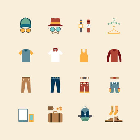vector web flat icons set - man clothing store collection of objects design elements.