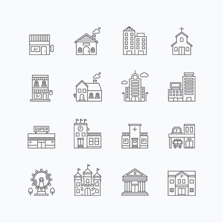 building fire: vector linear web icons set - buildings collection of flat line city design elements. Illustration