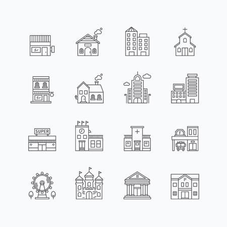 wektor liniowa internetowej zestaw ikon - Budynki kolekcję płaskim liniowych elementów miasta.