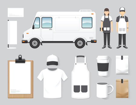 aliment: restaurant vectorielle conception de café mettre la rue boutique de camion de nourriture, flyer, menu, emballage, t-shirt, casquette, uniforme et affichage disposition de conception ensemble de l'identité d'entreprise maquette modèle.
