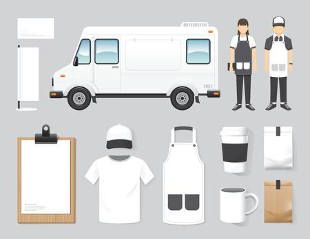 ristorante: Vector ristorante di design caffè della via impostare negozio camion di cibo, flyer, menu, pacchetto, t-shirt, cappellino, uniforme e progettazione del layout di visualizzazione insieme di corporate identity mock up modello. Vettoriali