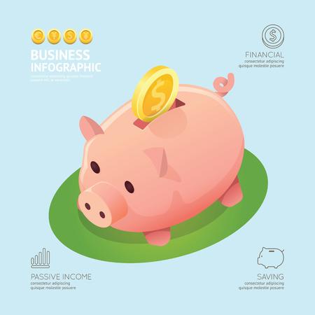 Infographic bedrijf munt geld munten spaarvarken vorm sjabloon ontwerp. besparing succes concept vector illustratie grafische of web design lay-out. Stock Illustratie