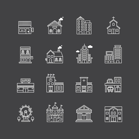 vector linear web icons set - buildings collection of flat line city design elements. Ilustração