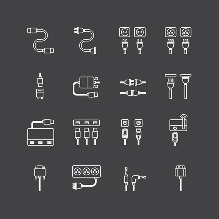computer socket: vector linear web icons set - cable wire computer and electricity plug collection of flat line design elements. Illustration
