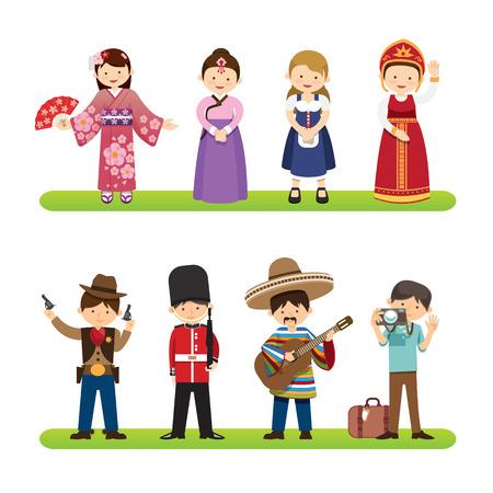 vestidos: Conjunto de personas internacionales aislados sobre fondo blanco. nacionalidades visten Corea, Japón, México, los estilos de eeuu. estilo de dibujos animados diseño plano. vector Ilustración Vectores