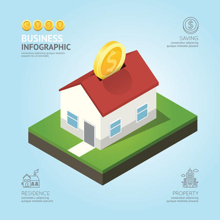 Infographic business currency money coins house shape template design. saving success concept vector illustration  graphic or web design layout.