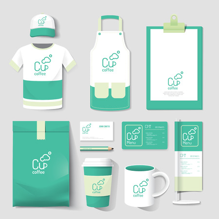 icons set: Vector restaurant cafe set flyer, menu, package, t-shirt, cap, uniform design layout set of corporate identity template.