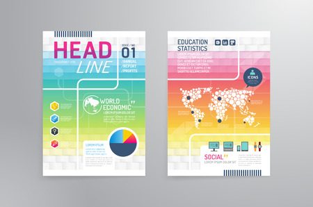 Vector brochure, flyer, magazine cover booklet poster design template.layout education annual report A4 size.  イラスト・ベクター素材