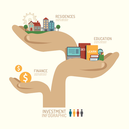 Business investment concept infographic hand step to successful icons flat design,vector illustration Illustration