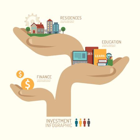 Zakelijke investeringen concept infographic de hand stap voor een succesvolle iconen platte ontwerp, vector illustratie Stock Illustratie