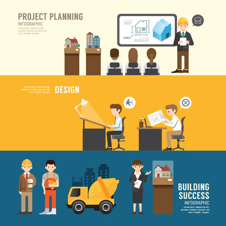 Business design conference concept people set presentation, planninh, meeting, building, success, agreement or partnership. with flat icons. vector illustration