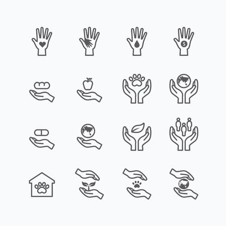 manos entrelazadas: caridad y la donación silueta iconos línea plana diseño vectorial
