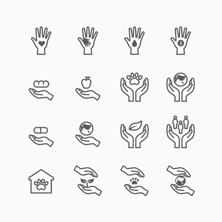 hand holding: charity and donation silhouette icons flat line design vector Illustration