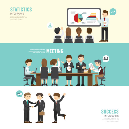 Business design conference concept people set presentation, training, meeting, success, agreement or partnership. with flat icons. vector illustration