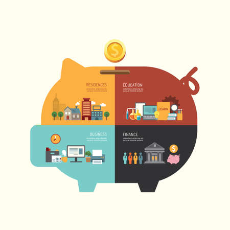 saving: Business investment saving concept infographic piggy bank shape icons flat design,vector illustration Illustration