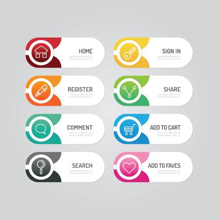 Botão banner moderno com opções de design do ícone social. Ilustração vetorial pode ser usada para layout de fluxo de trabalho infográfico, banner, resumo, cor, gráfico ou vetor de layout de site