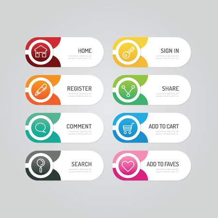 marketing icon: Modern banner button with social icon design options. Vector illustration. can be used for infographic workflow layout, banner, abstract, colour, graphic or website layout vector