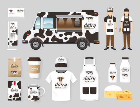 food shop: Vector restaurant cafe design set street dairy food truck shop, flyer, menu, package, t-shirt, cap, uniform and display design layout set of corporate identity mock up template.