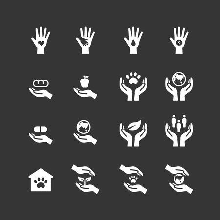 liefdadigheid en schenking silhouet iconen vlakke lijn ontwerp vector Stock Illustratie