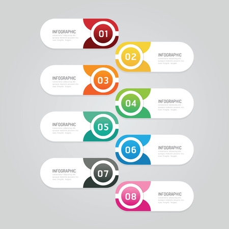 Infographics design options template banner. vector illustration. can be used for business workflow layout, diagram, number options, graphic or web layout Ilustração