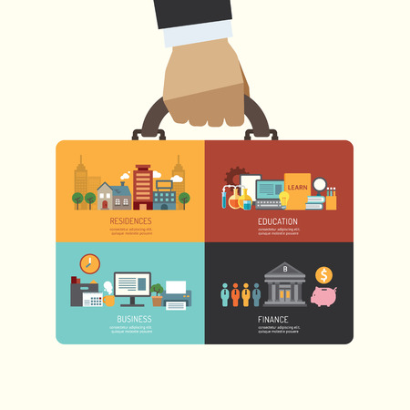 working man: Business investment concept infographic businessman hand hold business bag icons flat design,vector illustration