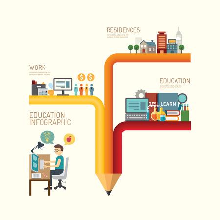lapiz: Negocios concepto de educaci�n paso l�piz infograf�a de iconos exitosas dise�o plano, ilustraci�n vectorial