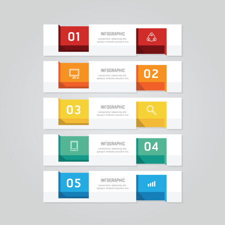 tab: Infographics design geometric template banner. vector illustration. can be used for business workflow layout, diagram, number options, graphic or web layout Illustration