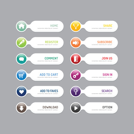 web icons: Modern banner button with social icon design options