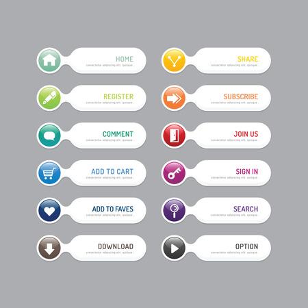 Moderne banner knop met social design icoon opties Stock Illustratie