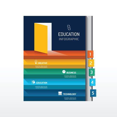 economy: Infographic step on book shape idea