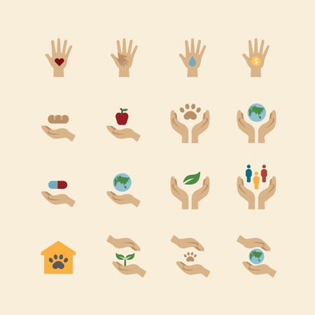 liefdadigheid en donatie pictogrammen vlakke lijn ontwerp Stock Illustratie