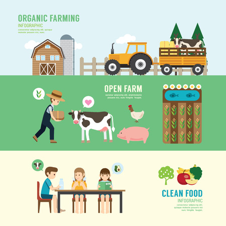 granja: Organic Clean Alimentos Buena Salud gente concepto de diseño establecen la agricultura, comiendo, sentado, eco granja de ganado en la naturaleza. con iconos planos. ilustración vectorial
