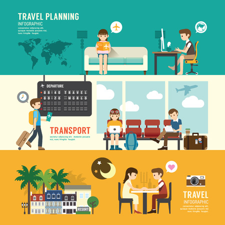 ビジネス旅行デザイン コンセプト空港ターミナル セット企画、検索、座って、出発時間を人々 します。フラット アイコン。ベクトル図