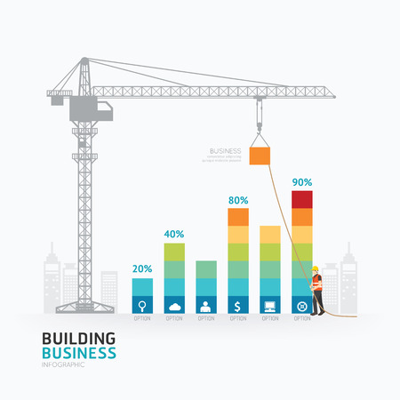 advertising construction: Infographic business graph template design.building to success concept vector illustration  graphic or web design layout.