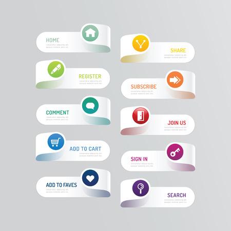 Moderne banner knop met social design icoon opties.